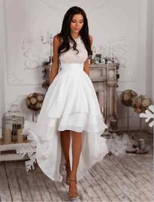Women Elegant Asymmetric Cocktail Party Evening Ballgown Long Lace Mermaid Dress