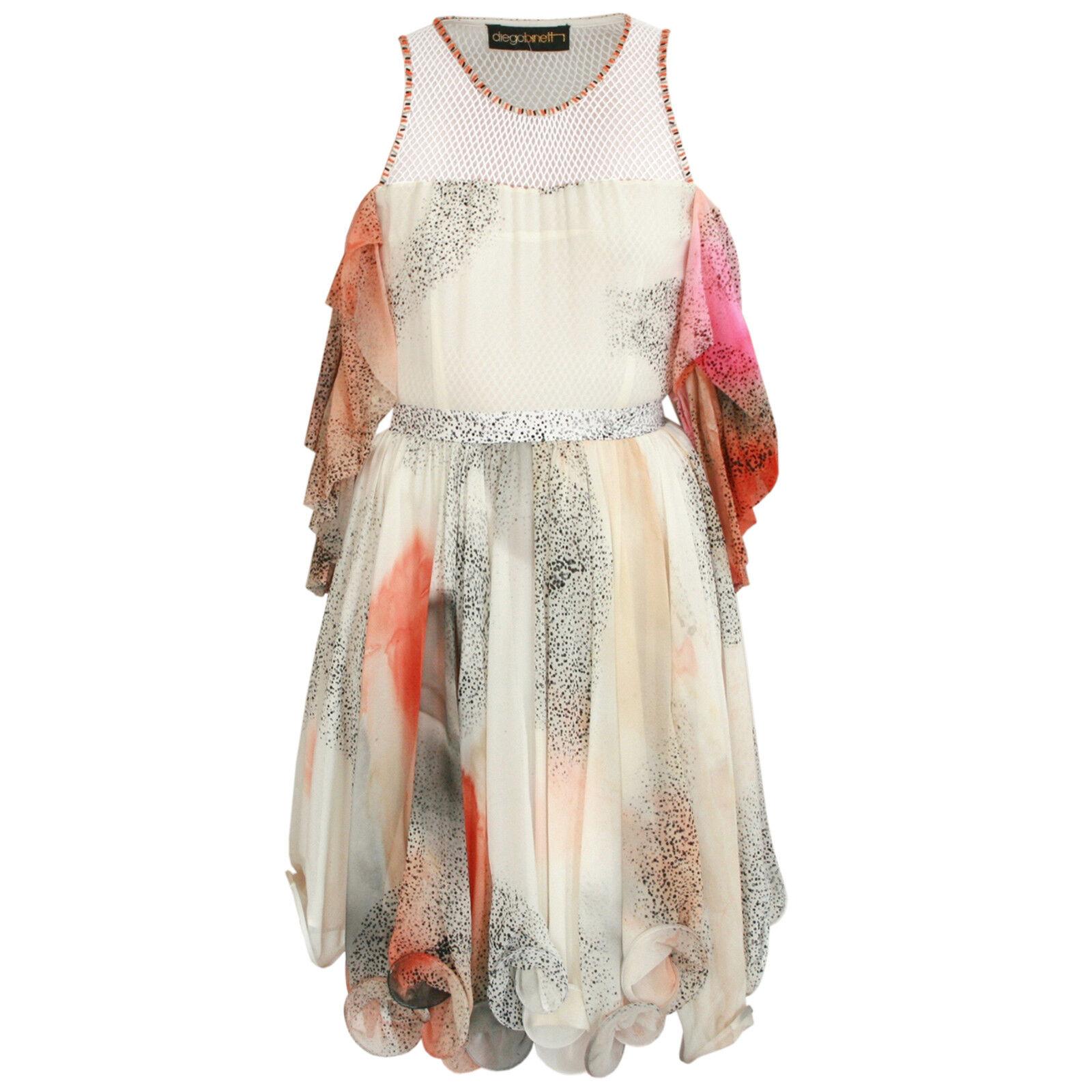 DIEGO BINETTI  1,650 beaded mesh pleated pleated pleated silk ruffled coral ivory dress 2 NEW 30e2ba