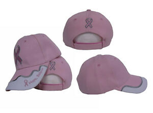0f9193e8ce627 Image is loading PINK-RIBBON-BREAST-CANCER-AWARENESS-BASEBALL -STYLE-EMBROIDERED-