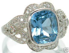 Joseph Esposito Solid 925 Sterling Simulated Blue Topaz Ring Sz-6 '