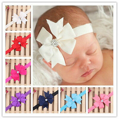 Elastic Baby Toddler Boys Girls Rhinestone Bowknot Ribbon Headband Hair Bow Band