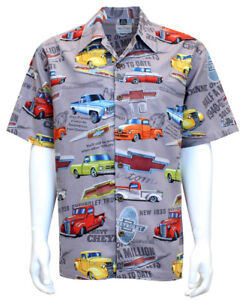 David Carey Vintage Classic Old Chevy Pick-up Trucks Hawaiian Camp Shirts Grey