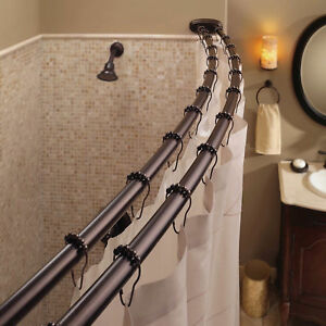 Double Curved Shower Curtain Rod Adjule Crescent Fixture Oil Rubbed Bronze