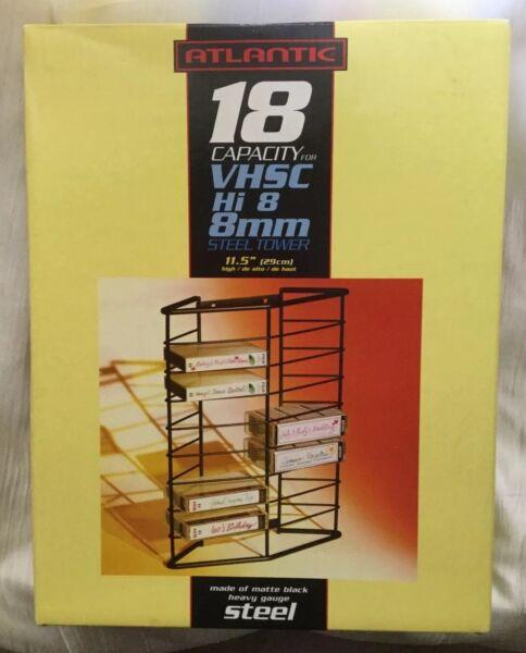 Atlantic Vhsc Vhs-c Hi-8 8mm Tape Steel Tower Storage Rack Nib Talrijke In Verscheidenheid