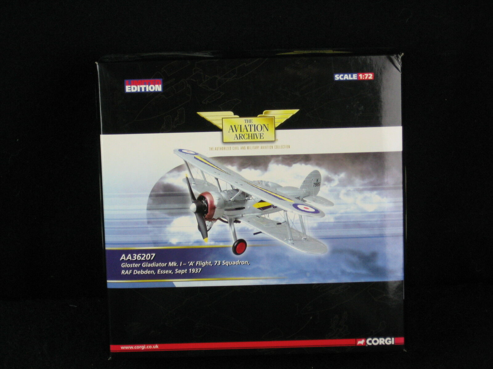 CORGI AA36207 Gloster Gladiator Mk1 UN VOL 73 ESC 1937 ltd ed