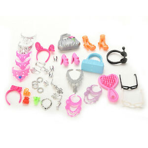 41-Jewelry-Necklace-Earring-Comb-Shoes-Crown-Accessory-For-Barbie-Dolls-Set-Hot