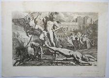 PIETRO TESTA  Achilles schleift Leichnahm Hector Troja  1648 Radierung Etching