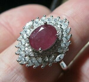 Beautiful STERLING SILVER Real Ruby Gem Stone Art Deco Revival RING Q 1/2 8.25