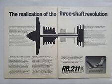 4/1970 PUB ROLLS-ROYCE RB211 THREE SHAFT TURBOFAN FLYING TEST ORIGINAL AD