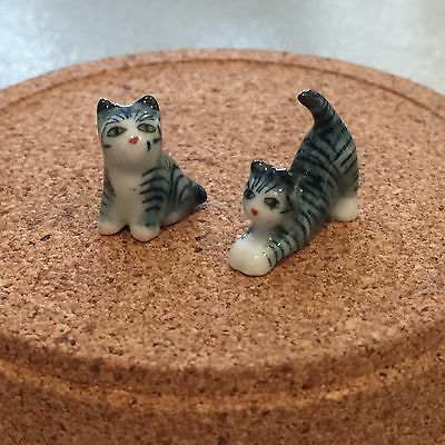 TINY ANIMAL MINIATURES DOLLHOUSE FIGURINE DECORATION CAT CERAMIC HANDCRAFT SMALL