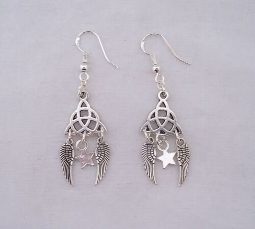 Nudo Trinity de plata tibetana Angel Wings /& Star 925 Plata Gancho Pendientes hecho a mano