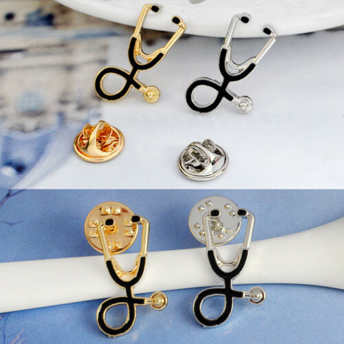 Gold Silver Plated Stethoscope Brooch Pin Nurse Jewelry Medical Jewelry GiftMA