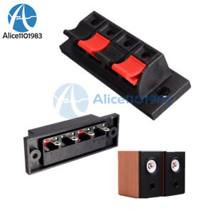 4 Way Push Release Connector Plate Stereo Speaker Terminal Strip Block