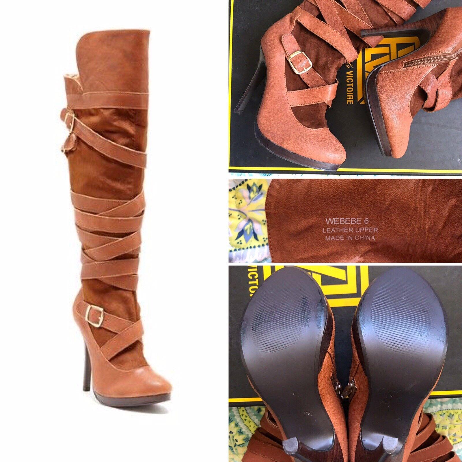 N.Y.L.A. Webebe Strap Knee High Tan Cognac Boots 6 NWOB