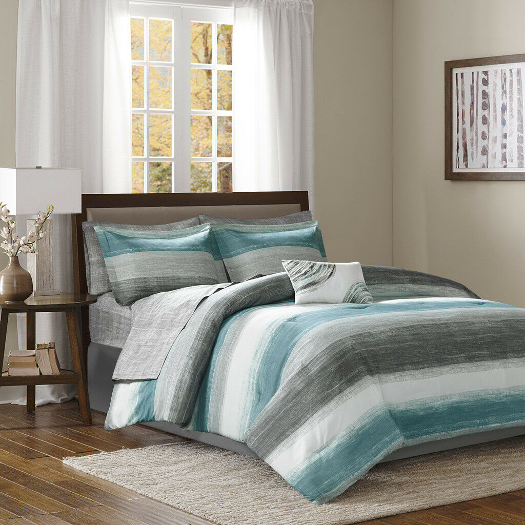 BEAUTIFUL ULTRA SOFT MODERN CASUAL Blau TEAL AQUA grau COMFORTER SET & SHEETS
