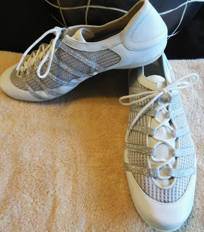 produttori fornitura diretta Stuart Weitzman bianca Glitter Leather scarpe da ginnastica sz 8 8 8 2 2  punti vendita