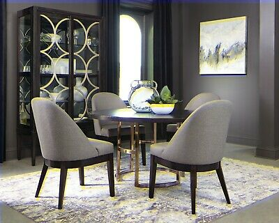 54 Round Rose Br Base Dining Table W Brown Top Grey Chairs Furniture Set Ebay