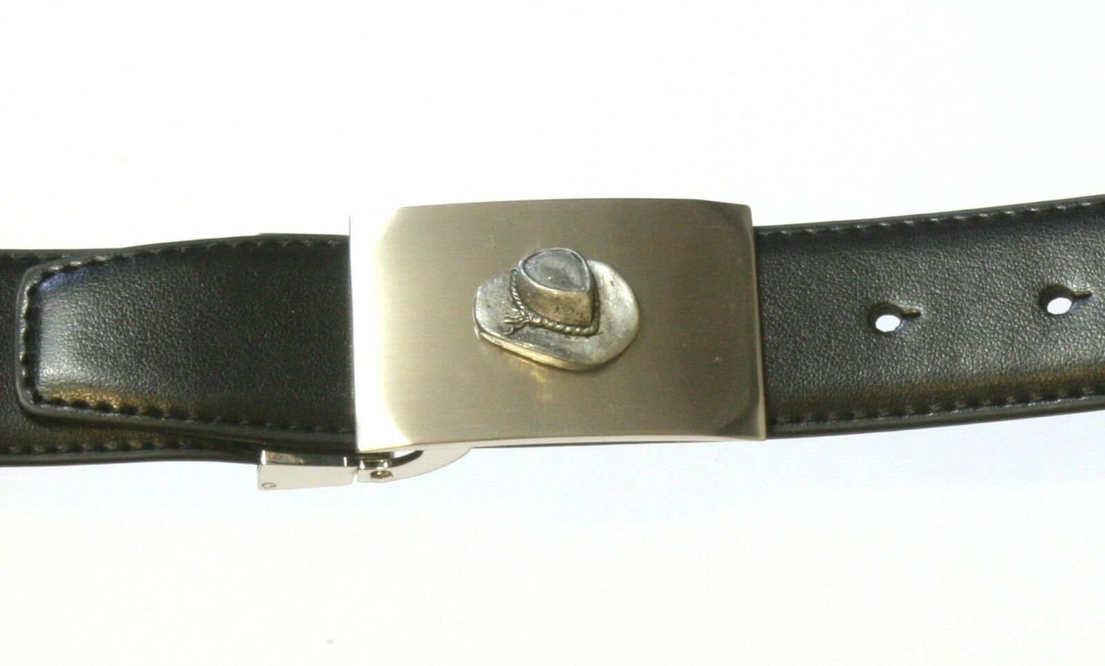 Cow Boy Hat Metal Buckle and Leather Belt Set Horse Sports Tinned Gift 85