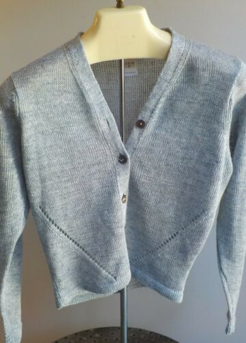 Inis Meain Ireland 100% Linen Gray Cardigan Sweate
