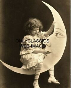 1907 CUTE LITTLE GIRL ON CIGARETTE SMOKING PAPER MOON 8X10 PHOTO COMIC NOVELTY