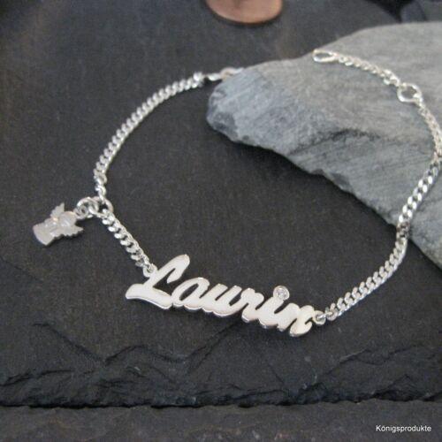 Kleinkind Kinder Armband 925er Silber Namensarmband mit Engel Anhänger /& Zirk