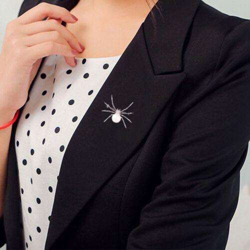 Women Spider Pearl Crystal Brooch Scarf Pin Wedding Coat Dress Vintage Jewelry