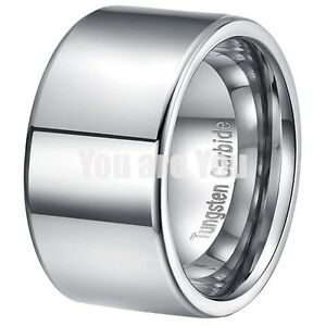 12MM Pipe Width Polished Tungsten Ring Mens Wedding Band Titanium Color Size 12