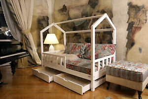 Bett mit Schubladen und Geländer, Hausbett für Kinder, FARBE, 7 Tage