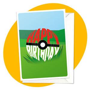 Pokeball Field  BLANK GREETING CARD - pokemon nintendo gamer birthday well done
