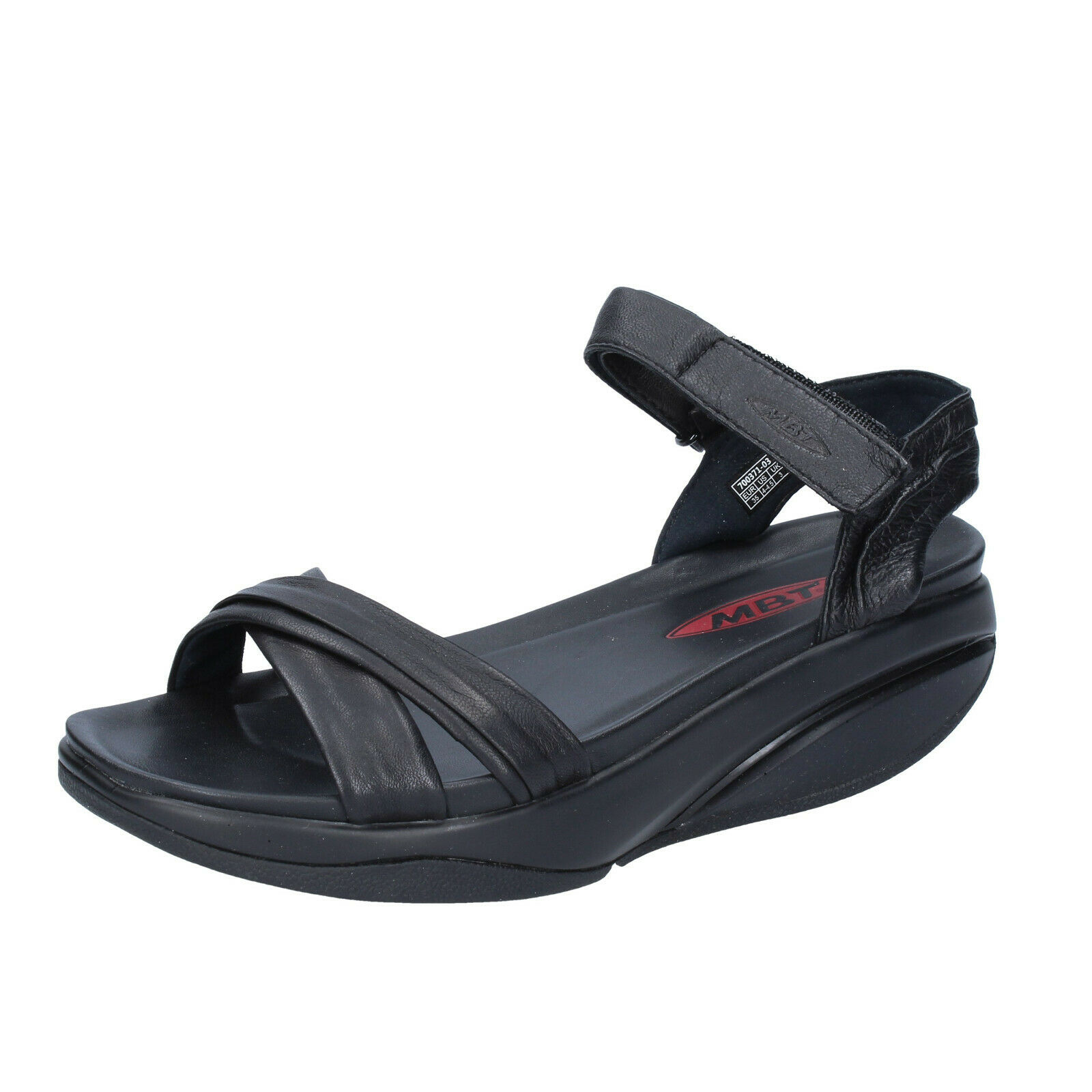 Para mujeres Zapatos MBT 11 11,5 (UE 42) Sandalias De Cuero Negro BS408-42