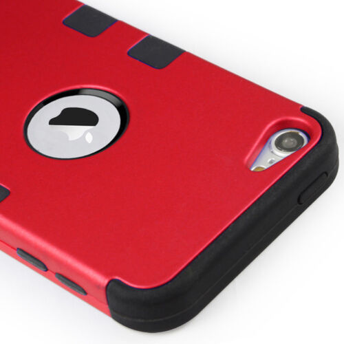For iPod Touch 6th 5th Gen-HARD /& SOFT RUBBER HIGH IMPACT ARMOR CASE RED HYBRID