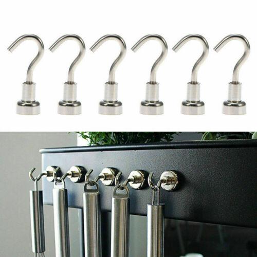 6Pieces Magnetic Hook Hooks Heavy Duty Hanger Hanging Pothook Fit Refrigerator
