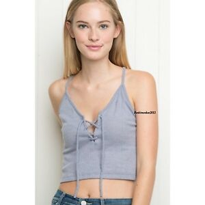 264a7be2d41 brandy melville Blue cropped ribbed Laced Up Bethany tank top NWT sz ...