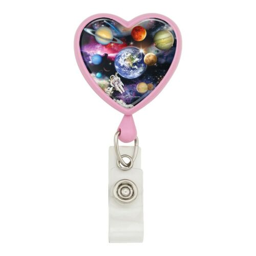 Solar System Planets Space Earth Saturn Heart Lanyard Reel Badge ID Card Holder