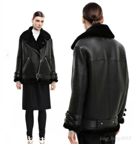 Chic Fur Leather Oversized Black Shearling Bomber New Coat Parka Women/'s Jacket