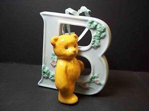 27a7b562c4d Details about Porcelain BABY letter ornaments Blue 4 dog teddy bunny cat 3