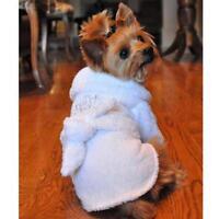 White Silver Tiara Cotton Dog Bathrobe 100% Cotton Turkish Terrycloth Girls Robe