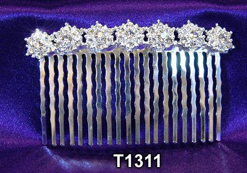 Hochzeit Haarschmuck kristall Silbernes Kamm T1311