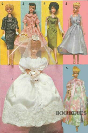 "VINTAGE ADVANCE FITS 11.5"" BARBIE DOLL ""BRIDAL TROUSSEAU"" CLOTHES PATTERN 2895"