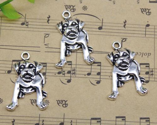 Retro Jewelry Making Cute Dog Alloy Charm Pendants DIY 26x18mm