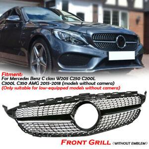 Diamantgrill-Schwarz-Frontgrill-Gitter-fuer-Mercedes-Benz-C-Klasse-W205-C250-C350