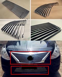 Chrome Front Bumper Lower Grille Cover Trim For 2012-2014 Nissan Versa Sedan