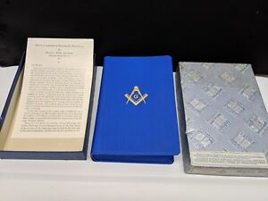 Details about MASONIC BIBLE Holman King James Version Blue in Original Box  Vintage 1957 Signed