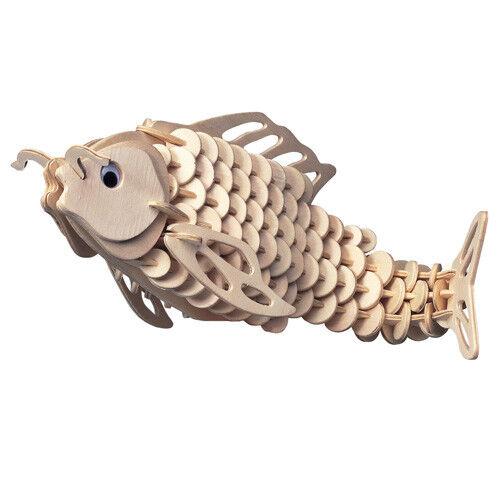 Karpfen 3D Holzbausatz Fisch Wasser Unterwasser Steckpuzzle See Meer Tier H009