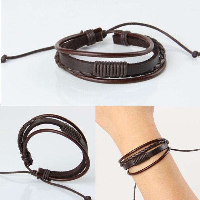 Vinatge Punk Mens Leather Surfer Braided Wristband Multilayer Handmade Bracelet