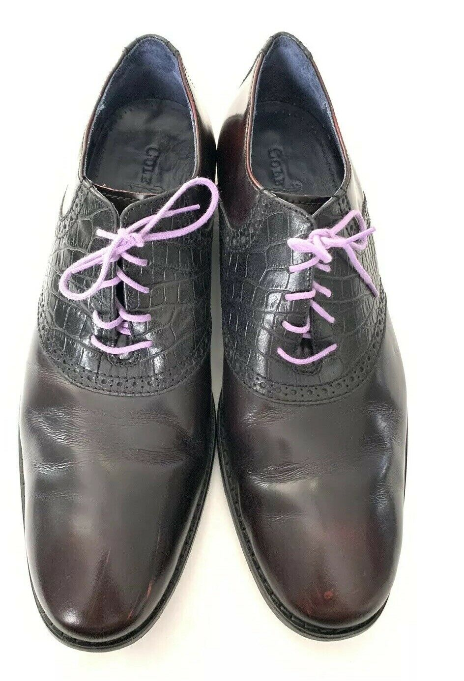 COLE HAAN Wing-Tip Oxfords nero Burgundy viola Laces Mens 11 M Very Good Cond