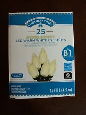 Lot of 2-Holiday Time 20 Warm White LED Jumbo C Type Lights-NEW-Green Wire
