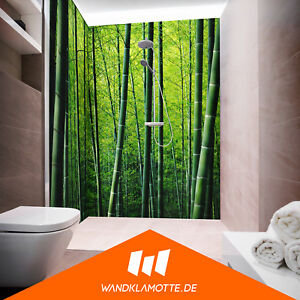 eck duschr ckwand zwei platten acryl plexi glas dusche bad wand bamboo forrest ebay. Black Bedroom Furniture Sets. Home Design Ideas