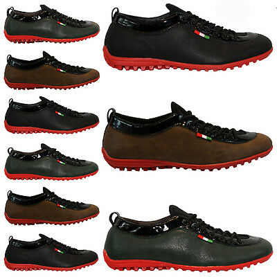 MENS LEATHER LOOK DESIGNER SHOES ITALIAN FASHION CASUAL DRIVING TRAINERS SIZE 6