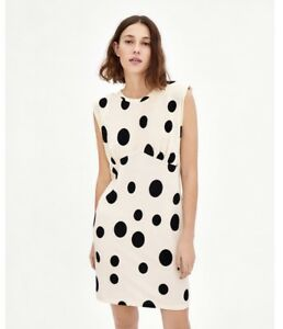 Details About Zara Fw18 Black White Combined Polka Dot Dress With Shoulder Pad Size S Nwt